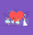 bride throwing bouquet flowers to bridesmaids vector image vector image