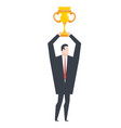 business winner businessman holds gold cup in his vector image vector image