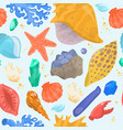 cartoon sea shells starfish corals and ocean vector image