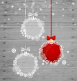 Christmas greeting card with Christmas balls vector image vector image