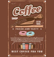 coffee shop cups and scoop beans and donuts vector image