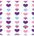 colorful geometric hearts seamless pattern vector image
