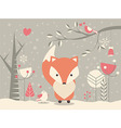 Cute Christmas baby fox with floral decoration vector image vector image