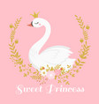 cute swan princess beautiful lake swans bird in vector image vector image