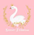 cute swan princess beautiful lake swans bird vector image vector image