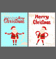 dancing santa claus with hands on waist christmas vector image vector image