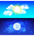 Day and night sky background vector image