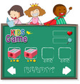 doodle kids on game template vector image vector image