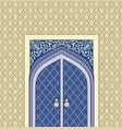 door in muslim oriental house facade arabic vector image