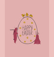 easter greeting card with bunny chickens and an vector image vector image