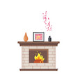 fireplace with framed photo on wooden shelf icon vector image vector image