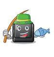 fishing button e in mascot shape vector image