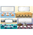 Four scenes of classroom vector image vector image