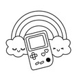 game boy with rainbow black and white vector image