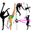 girl gymnast athlete isolated on white background vector image