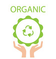 green eco earth hand holding recycle symbol vector image