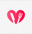 heart logo fork knife icon vector image