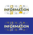 information flat line concept for web banner and vector image