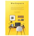 Interior design Modern workspace banner 1 vector image vector image