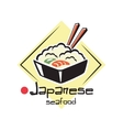Japanese seafood label or icon vector image vector image