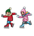 kids ice skating vector image vector image