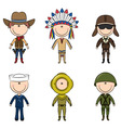 male occupations costumes vector image vector image