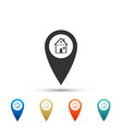 map pointer with house icon on white background vector image