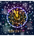 New Year clock in bokeh lights vector image vector image