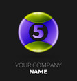 number five logo symbol on colorful circle vector image vector image