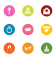 nuptial icons set flat style vector image vector image