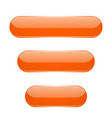 orange oval buttons 3d glass menu icons vector image