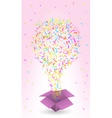 paper box and confetti vector image vector image