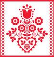 polish floral folk art design vector image vector image