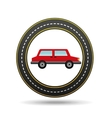 red car side circle road way design vector image vector image