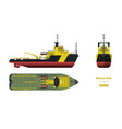 rescue ship top side and front view industry 3d vector image vector image