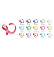 set color curly ribbons or loops realistic vector image vector image
