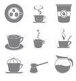 Set of beautiful gray icon coffee theme vector image vector image