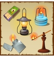 Set of tourist from matches lamps torch vector image