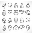 simple line trees icons set vector image
