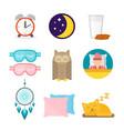 Sleep icons set collection nap