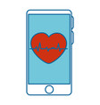 smartphone device with cardiology app vector image vector image