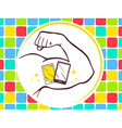 strong man hand with icon of white and b vector image vector image