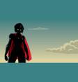 superheroine battle mode sky silhouette vector image vector image