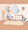 trendy interior design living room with retro vector image