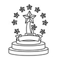 trophy cup with stars black and white vector image vector image