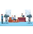 tv studio interview talk show in broadcasting vector image vector image