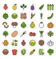 vegetable icon set filled outline style vector image vector image