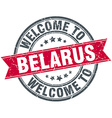 welcome to Belarus red round vintage stamp vector image vector image