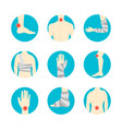 human injuries set bandage and center pain vector image