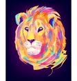 The cute colored lion head vector image